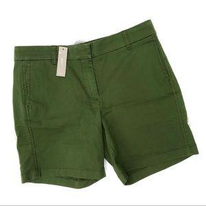 J. Crew Chino Stretch Shorts Dark Green 7 Inch